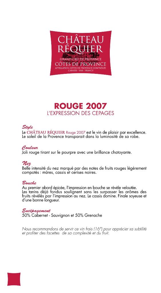 chteau rquier rouge 2006 - Domaine Viticole Mariage Var